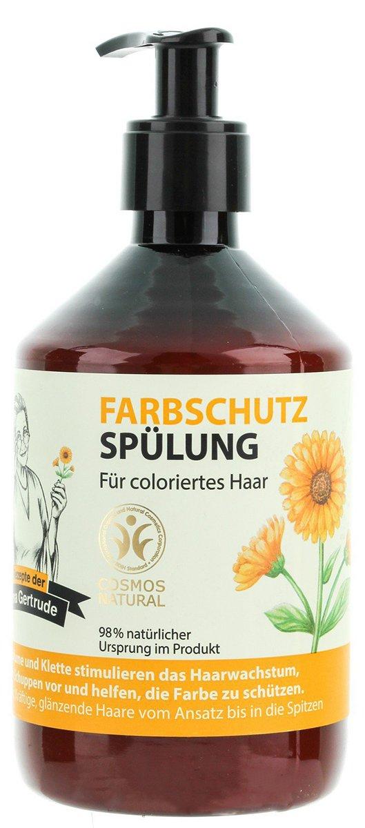 Защита цвета Рецепты Бабушки ГертрудыРецепты Бабушки Гертруды<br>Бальзам для волос «Защита цвета» предназначен для защиты цвета после процедуры  окрашивания, средство прекрасно смягчает волосы, питает и увлажняет, способствует интенсивному восстановлению.<br>        <br>Мы знаем, что каждое растение, каждый цветок и дерево обладают полезными свойствами. В них живительная сила самой Природы. Но далеко не каждый из нас знает, какие травы и как правильно использовать для здоровья и красоты. Всеми этими секретами владеет травница Гертруда, живущая на юге Германии. На основе ее уникальных рецептов талантливые косметологи создали специальную линию средств по уходу за волосами.<br>Бальзам-кондиционер Защита цвета от торговой марки Рецепты бабушки Гертруды содержит органические экстракты календулы и репейника.<br><br>экстракт календулы очень полезен, если ваши волосы быстро грязнятся, выпадают, если у вас появилась перхоть, высыпания на коже головы, зуд, поскольку он обладает противовоспалительными и антисептическими свойствами. Календула незаменима для нормализации жирности волос, возвращении им здорового блеска и силы.<br>репейник содержит полисахариды инсулина, дубильные вещества и полиацетилены - эти вещества укрепляют ваши волосы, закрепляют цвет окрашенных локонов, устраняют воспаления и раздражения, делают волосы послушными и сияющими.<br><br>Способ применения: нанесите бальзам на влажные вымытые волосы массирующими движениями, распределите по все длине волос, выдержите 2-3 минуты, смойте водой.<br> Состав: Aqua, Glycerin, Cetearyl Alcohol, Distearoylethyl Dimonium Chloride, Cocos Nucifera Oil, Calendula Officinalis Flower Extract, Arctium Lappa Root Extract, Guar Hydroxypropyltrimonium Chloride, Hydrolyzed Wheat Protein, Tocopherol, Sodium Benzoate, Potassium Sorbate, Benzyl Alcohol, Dehydroacetic Acid, Citric Acid, Parfum, CI 77492, CI 77491, Limonene, Linalool.<br><br>Линейка: Защита цвета Рецепты Бабушки Гертруды<br>Объем мл: 500<br>Пол: Женский