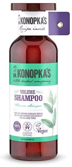 Dr.KONOPKA`SDr.KONOPKA`S<br>Натуральный сертифицированный шампунь для объема волос содержит масло для волос на основе лечебных трав Доктора Конопка № 28, масло прошло сертификацию BDIH COSMOS Natural. Экстракт шалфея, в составе шампуня, помогает укреплению и питанию волос, придает объем.<br>        <br>Экстракт Шалфея, в составе шампуня для объема волос DR.KONOPKA&amp;rsquo;S, помогает укреплению и питанию волос, придает объем.<br>Salvia Officinalis Leaf Water &amp;mdash; дистиллят листьев шалфея, или шалфейная вода. Шалфейная вода содержит вещества, оказывающие ранозаживляющее и тонизирующее воздействие, она идеально подходит для кожи, подверженной частым воспалениям. В средствах для ухода за волосами дистиллят шалфея сокращает выпадение, избавляет от перхоти, придает волосам блеск и делает их послушными.<br>Способ применения: нанесите небольшое количество шампуня на влажные волосы, помассируйте до появления обильной пены, затем тщательно смойте водой. При необходимости повторите. При попадании шампуня в глаза тщательно промойте их водой. Подходит для ежедневного использования. Для максимального эффекта используйте шампунь, кондиционер и сыворотку Dr. Konopka&amp;rsquo;s.<br>Состав: Aqua, Sodium Coco-Sulfate, Cocamidopropyl Betaine, Lauryl Glucoside, Glycerin, Salvia Officinalis Leaf Water*, Helianthus Annuus Hybrid Oil*, Olea Europaea Fruit Oil*, Macadamia Ternifolia Seed Oil*, Argania Spinosa Kernel Oil*, Citrus Aurantium Dulcis (Orange) Peel Oil*, Citrus Limon Peel Oil*, Cymbopogon Citratus Leaf Oil*, Borago Officinalis Seed Oil*, Simmondsia Chinensis Seed Oil*, Prunus Amygdalus Dulcis Oil*, Oenothera Biennis Oil*, Betula Alba Leaf Extract*, Helianthus Annuus Seed Oil, Panax Ginseng Root Extract*, Pinus Sibirica Seed Oil*, Tocopherol, Sodium Chloride, Guar Hydroxypropyltrimonium Chloride, Citric Acid, Benzyl Alcohol, Sodium Benzoate, Potassium Sorbate, Parfum, Limonene, Linalool. (*) -органические ингредиенты.<br><br>Линейка: Dr.KONOPKA`S<br>Объем мл: 500<br>Пол