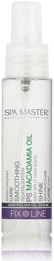 Spa MasterSpa Master<br>Производство: Португалия Полирующая сыворотка Spa Master Hair Polish Macadamia Oil&amp;nbsp;для волос с маслом макадамии.<br>Лёгкая разглаживающая сыворотка для увлажнения и восстановления структуры волос. Делает волосы шелковистыми и придаёт зеркальный блеск. Увлажняет волосы и снимет статику. Обладает антиоксидативным действием.<br>Подходит для нанесения в течение дня.<br>Ингредиенты, входящие в состав:<br><br>Масло макадамии &amp;mdash; восстановление, разглаживание, увлажнение, питание.<br><br>Способ применения: нанести на влажные или сухие волосы. Приступить к укладке волос.<br>Состав:Cyclopentasiloxane, Dimethiconol , Macadamia Ternifolia Seed Oil, Parfum, BENZYL  ALCOHOL, BENZYL BENZOATE <br><br>Линейка: Spa Master<br>Объем мл: 50<br>Пол: Женский