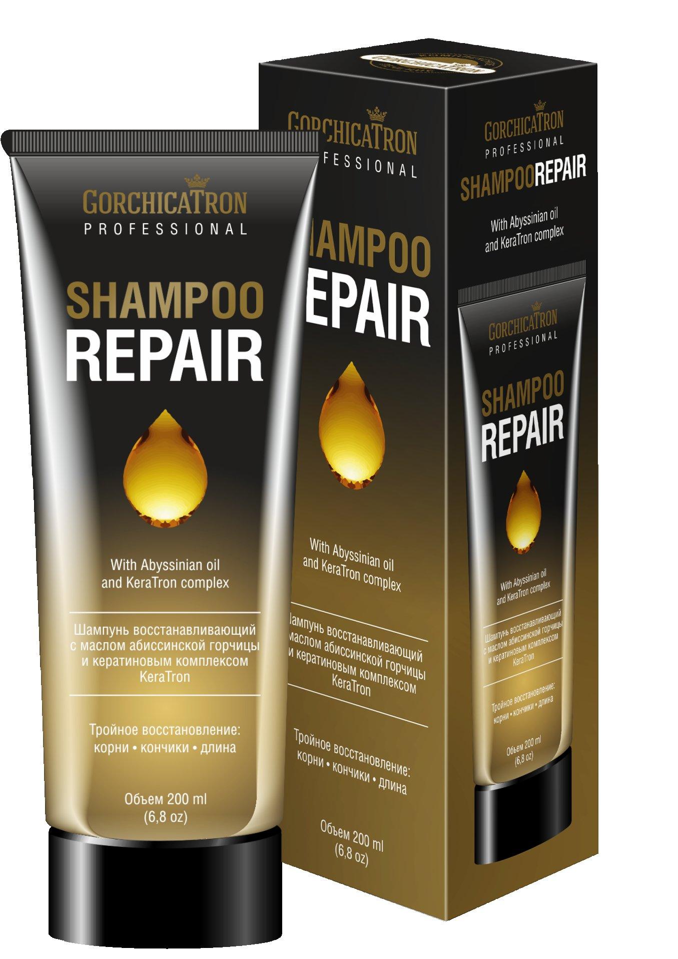 Shampoo Repair Gorchicatron ProfessionalGorchicatron Professional<br>Производство: Россия Новейшая разработка среди средств для красивых, здоровых волос. Шампунь  GorchicaTron® обеспечивает тройное восстановление волос - от корней до самых кончиков. Активные компоненты в составе шампуня насыщают волосы питательными веществами, восстанавливают поврежденную структуру волос, придают им жизненную силу. Шампунь восстанавливающий с маслом абиссинской горчицы и кератиновым комплексом KeraTron. GorchicaTron® Professional - новейшая разработка среди средств для красивых, здоровых волос. Шампунь GorchicaTron® обеспечивает тройное восстановление волос - от корней до самых кончиков. Активные компоненты в составе шампуня насыщают волосы питательными веществами, восстанавливают поврежденную структуру волос, придают им жизненную силу. После применения шампуня волосы становятся шелковистыми и блестящими. Регулярное использование создает условия для роста волос. Активные действующие компоненты: Масло абиссинской горчицы содержит большое количество полезных ненасыщенных жирных кислот, насыщает волосяные луковицы питательными веществами, стимулируя рост новых, здоровых волос. Легкое, нежирное масло в составе шампуня нормализует процесс кератинизации волоса. Уменьшает воспаление и раздражение чувствительно эпидермиса. Кератиновый комлекс Keratron восстанавливает поврежденную структуру волоса. Кератин является основной белковой составляющей человеческого волоса, заполняя его на 70%-80%. Активные вещества кератинового комплекса Keratron проникая глубоко в структуру каждого волоса, наполняют его и устраняют все возможные недостатки, придают прочность и целостность. Результатом является блеск, усиленная защита и увлажненность волос. Комплекс яичных пептидов является мощным источником витаминов группы В и минералов, прекрасно питает, тонизирует и смягчает кожу головы. Способ применения: нанесите шампунь на мокрые волосы и кожу головы, помассируйте, затем смойте. Нанесите шампунь повторно, р