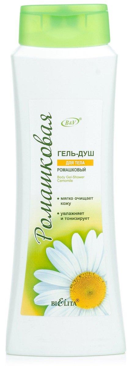 Ромашка для тела БелитаБелита<br>Гель мягко очищает кожу, имеет сбалансированный pH состав, увлажняет и тонизирует. Экстракт ромашки и аллантоин, входящие в состав геля, успокаивают кожу, делают ее мягкой и гладкой, словно шелк, придают ощущение свежести.<br>        <br>Ромашка лекарственная считается одним из самых эффективных природных антисептиков. Благодаря своим свойствам растение широко применяется в народной и официальной медицине, а также в косметологии. Более того, ромашка - средство номер один для ухода за всеми типами кожи. В качестве сырья используются цветочные корзиночки растения, которые собираются еще в самом начале цветения. В косметологии ромашку используют для изготовления настоев и примочек, она часто является главным компонентом в составе масок для лица, кремов, шампуней или гелей для душа.<br>Косметический бренд Bielita создал специальную ромашковую серию по уходу за кожей и волосами, в которую и вошел деликатный гель для душа &amp;laquo;Ромашковый&amp;raquo;. Сбалансированная формула геля и ее мягкая пена способствует бережному очищению кожи. Средство имеет оптимальный уровень рН и гармоничный состав, которые способствуют увлажнению и тонизированию кожного покрова. Натуральный экстракт ромашки и аллантоин успокаивают и придают коже роскошную гладкость и шелковистость.<br> Способ применения: нанести на влажную кожу, нежно помассировать, затем ополоснуть водой.<br>Состав: вода, лауретсульфат натрия, кокобетаин, лауретсульфосукцинат натрия, кокамид МIPA, лаурет-4, хлорид натрия, кокамидопропиламиноксид, поликватерниум-39, пропиленгликоль, экстракт ромашки, аллантоин, лимонная кислота, ЭДТА, парфюмерная композиция, 2-бром-2-нитропропан-1,3-диол, CI 19140, CI 42090.<br><br>Линейка: Ромашка для тела Белита<br>Объем мл: 500<br>Пол: Женский