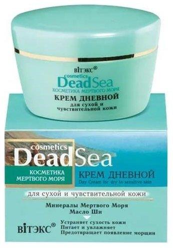 Крем дневной для сухой и чувствительной кожи ВитексВитекс<br>Крем обогащает кожу живительными минералами и микроэлементами Мертвого моря, интенсивно питает и предотвращает потерю влаги, устраняет сухость и шелушение. Предупреждает появление морщин.<br>        <br>Перепады температур, холодный и морозный воздух, сухой ветер и ультрафиолет &amp;ndash; все это приводит к истощению эпидермиса и снижению активности сальных желез. В результате такого процесса кожа становится сухой и чувствительной. Ежедневное увлажнение с помощью дневного крема Витэкс Dead Sea Cosmetics Day Cream For Dry To Sensitive Skin поможет вам поддерживать сухой тип кожи в идеальном состоянии.<br>В составе крема содержится уникальная сила живительных микроэлементов и минералов Мертвого моря. За счет активнодействующих веществ крема клетки эпидермиса получают необходимое питание и увлажнение, и ваша кожа как никогда увлажненная и нежная на ощупь. Дневной крем Витэкс Dead Sea Cosmetics Day Cream For Dry To Sensitive Skin также защищает ваше лицо от негативного воздействия внешней среды, что поможет надолго сохранить вашу естественную красоту и молодость.<br> Способ применения: небольшое количество крема для лица нанести массажными движениями на предварительно очищенную кожу лица, втирая его до полного впитывания.<br>Состав: вода, цетиловый спирт, глицерилстеарат, ПЭГ-75 стеарат, цетет-20, стеарет-20, гидрогенизированный полидецен, циклопентасилоксан, циклогексасилоксан, ППГ-15 стеариловый эфир, глицерин, масло Persea Gratissima (авокадо), масло Butyrospermum parkii (ши), кроссполимер диметикона, воск пчелиный синтетический, Mg PCA, изопропилмиристат, масло зародышей Triticum vulgare (пшеницы), токоферилацетат, БГТ, глицерилстеарат, соль Мёртвого моря, метилпарабен, парфюмерная композиция, пропилпарабен, ксантановая камедь, 2-бром-2-нитропропан-1,3-диол, лимонная кислота, амилциннамаль, гексилциннамаль, лимонен, линалол, бутилфенилметилпропиональ<br><br>Линейка: Крем дневной для сухой и чувствительной