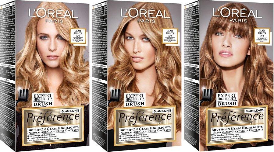 Preference Glam Light  L`orealLOreal<br>Производство: Великобритания Краска для волос LOreal Paris Preference. Glam Light - это новый легкий способ создания соблазнительных прядей с золотистыми переливами от корней до кончиков волос. Достаточно нанести осветляющий крем на длину или кончики волос с помощью эксклюзивной эксперт-расчески, которая позволяет добиться идеального результата нанесения, и подождать 25 минут. Краска для волос LOreal Paris Preference. Glam Light - это новый легкий способ создания соблазнительных прядей с золотистыми переливами от корней до кончиков волос. Достаточно нанести осветляющий крем на длину или кончики волос с помощью эксклюзивной эксперт-расчески, которая позволяет добиться идеального результата нанесения, и подождать 25 минут. В состав упаковки входит: флакон осветляющего крема (20 мл), флакон-аппликатор с проявляющим кремом (60 мл), упаковка осветляющего порошка (18 гр), питательный шампунь-уход (40 мл), инструкция по применению, пара перчаток, эксперт-расческа. Способ применения: перед началом окрашивания необходимо снять украшения и нанести крем по контуру лица, чтобы защитить кожу от попадания краски. Перед применением следует пройти тест на аллергическую реакцию. Внимательно прочтите инструкцию, следуйте ее рекомендациям. Состав: гель-краска 1106241: aqua / water , cetearyl alcohol, deceth-3, propylene glycol, laureth-12, ammonium hydroxide, oleth-30, hexadimethrine chloride, lauric acid, ethanolamine, glycol distearate, polyquaternium-22, silica dimethyl silylate [nano] / silica dimethyl silylate, toluene-2,5-diamine, 4-amino-2-hydroxytoluene, ci 77891 / titanium dioxide, 2,4-diaminophenoxyethanol hcl, m-aminophenol, ascorbic acid, sodium metabisulfite, , thioglycerin, dimethicone, pentasodium pentetate, linalool, carbomer, butylphenyl methylpropional, parfum / fragrance, c54066/2 проявляющий крем 178914: c13169/25 бальзам усилитель цвета 487419/a: aqua / water cetearyl alcohol glycerin behentrimonium chloride candelilla cera 