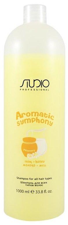 Молоко и мёд Aromatic Symphony KapousKapous<br>Производство: Италия Ароматная симфония молока и меда &amp;mdash; в универсальном шампуне для ухода за волосами всех типов, представленном известным косметическим брендом Kapous Professional. Этот производитель средств профессионального уровня наполнил формулу Studio Shampoo ухаживающими ингредиентами, которые день за днем обеспечивают отличное очищение локонов и кожи головы от естественных и внешних загрязнений и при этом заботятся о сохранении нормального липидного и водного баланса.<br>Вы не будете беспокоиться о состоянии ваших волос, ведь состав средства не содержит вредных отдушек, сульфатов и парабенов, зато вмещает натуральный мед и молочные протеины. Таким образом, даже при ежедневном мытье головы вы сможете сохранить ваши локоны упругими, блестящими и крепкими.<br> Способ применения: необходимое количество шампуня нанести на мокрые волосы, вспенить в течении 2-4 минут, смыть обильным количеством теплой воды.<br><br>Линейка: Молоко и мёд Aromatic Symphony Kapous<br>Объем мл: 1000<br>Пол: Женский