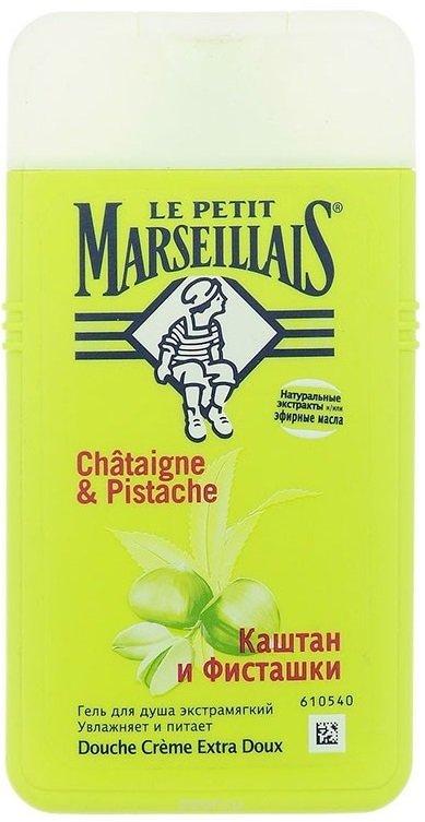 Le Petit MarseilliasLe Petit Marseillias<br>Средство «Каштан и фисташки», обладающее нежным ароматом, наполненным изысканными солнечными нотками, подходит для использования в качестве геля для душа. Оно имеет густую консистенцию. Этот белый непрозрачный гель подойдет для превращения вашей ванной в место настоящего удовольствия.<br>        <br>Средство LE PETIT MARSEILLAIS&amp;reg; &amp;laquo;Каштан и фисташки&amp;raquo;, обладающее нежным ароматом, наполненным изысканными солнечными нотками, подходит для использования в качестве геля для душа. Оно имеет густую консистенцию. Этот белый непрозрачный гель подойдет для превращения вашей ванной в место настоящего удовольствия.<br>Средство содержит нейтральный для кожи pH и прошло дерматологический контроль.<br>Эффект: гель для душа &amp;laquo;Каштан и фисташки&amp;raquo; LE PETIT MARSEILLAIS&amp;reg; помогает смягчать, питать и увлажнять кожу. Средство создает обильную пену, которая с легкостью смывается. После использования фисташкового геля для душа кожа источает приятный аромат.<br>Способ применения: нанесите гель на влажное тело, аккуратно вспеньте и смойте с помощью проточной воды. Для создания пены добавьте некоторое количество средства к ванне.<br>Ингредиенты:сбор урожая сладких каштанов приходится на осень, когда кожура плодов становится блестящей. Их собирают на юге Франции. Во время продолжительного и жаркого лета скорлупа фисташек открывается под южным солнцем, обнажая изысканный и созревший плод.<br><br>Линейка: Le Petit Marseillias<br>Объем мл: 250<br>Пол: Женский