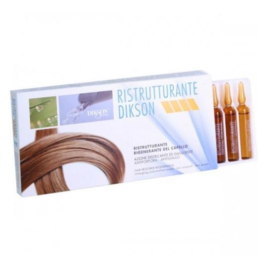 Ampoule Recovery RistrutturanteDikson<br>Производство: Италия Реструктурирующий комплекс в ампулах. Это лечебное средство, оказывающее сильное немедленное воздействие на структуру волос. Благодаря его специальной формуле, которая сходна с протеиновой структурой волос, он непосредственно воздействует на поврежденные участки, способствуя более быстрому восстановлению физиологического баланса. Оказывает эффективное защитное воздействие и предотвращает спутывание. Идеально после щелочных обработок (окрашивание, химическая завивка, обесцвечивание и т.д.) в качестве основного лечебного средства для интенсивной защиты. Применение: После каждой процедуры (окрашивание, химическая завивка, обесцвечивание и т.д.) нанести часть содержимого ампулы на корни волос, распределяя равномерно во всех направлениях. Остатки нанести на кончики волос, втирая массажными движениями. После 10-15 минут смыть теплой водой.<br><br>Линейка: Ampoule Recovery Ristrutturante<br>Объем мл: 12*12<br>Пол: Женский